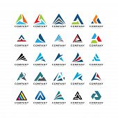 Set Of Triangle Logo Vector Abstract,a Triangle Logo Abstract poster