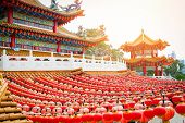 Thean Hou Temple At Kuala Lumpur Malaysia Temple Chinese Vintage Style Of Buddhism poster