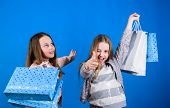 Happy Children In Shop With Bags. Shopping Day Happiness. Sisters Shopping Together. Buy Clothes. Fa poster