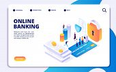 Online Banking Isometric Landing Page. Vector Internet Money Transfers, Secure Payment, Mobile Banki poster