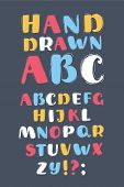 Cartoon Vector Illustration Of English Alphabet. Different Colors Abc. English Letters Handwritten B poster