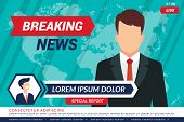 Tv News Background. Sport Television Anchor In Studio Breaking News Bars Vector Broadcasting. Tv Stu poster