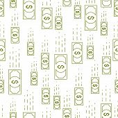 Money Cash Falling Seamless Background, Dollar Currency Money Signs, Backdrop For Financial Business poster