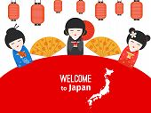 Welcome To Japan Vector Poster Design With Japanese Symbols. Illustration Of Japanese Welcome To Cul poster