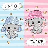 Baby Shower Greeting Card With Cute Elephant Boy And Girl poster