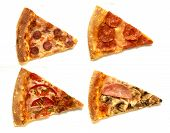Four Slices Of Different Pizza. Pizza With Mushrooms, Pepperoni, Ham, Tomatoes. Slices Of Pizza Isol poster