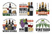 Wine Shop And Winery Vector Icons With Wine Bottles, Glasses And Grapes, Champagne, Cheese, Bread An poster