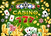 Casino Chips And Poker Playing Cards 3d Vector Design Of Gambling Game. Jackpot Winner Combination O poster