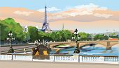 Colorful Vector Illustration Of Eiffel Tower, Landmark Of Paris, France. Panoramic Cityscape With Ei poster