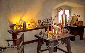 Old Medieval Alchemist Laboratory Objects & Measuring Devices. Instruments, Retro Equipment Of Old S poster