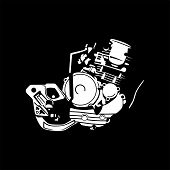 A Set Of Images Of Internal Combustion Engines Of Motor Vehicles, Motorbikes. Can Be Used To Illustr poster