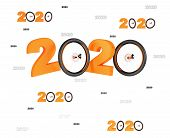 3d Illustration Of Many Bicycle Wheel 2020 Designs With Many Wheels On A White Background poster