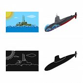 Isolated Object Of War And Ship Icon. Collection Of War And Fleet Vector Icon For Stock. poster