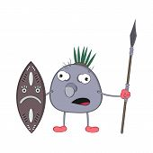 Funny Cartoon Aboriginal Pon With A Spear And Shield Stands And Watches Menacingly. poster