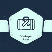 Grunge Line Suitcase For Travel And Stickers Icon Isolated On Blue Background. Traveling Baggage Sig poster