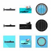 Vector Illustration Of War And Ship Symbol. Set Of War And Fleet Stock Symbol For Web. poster