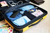 An Open Suitcase With Mens Clothing, Packed For A Business Trip. poster