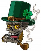 Cartoon Detailed Realistic Colorful Scary Irish Leprechaun Skull With Green Hat, Whiskers And Tobacc poster