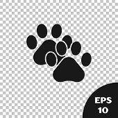 Black Paw Print Icon Isolated On Transparent Background. Dog Or Cat Paw Print. Animal Track. Vector  poster