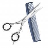 image of scissors  - Vector Scissors and Comb for hair isolated on white - JPG