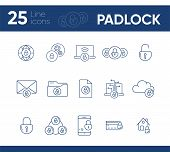 Padlock Line Icons. Set Of Line Icons. Phone With Padlock, Planet. Security Concept. Vector Illustra poster