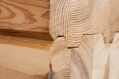 Wood Glued Timber Close Up. Wooden Grain Timber End Background. Glued Pine Timber Beams. Wood For Bu poster