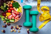 Fresh Vegetable Salad And Healthy Food For Sport Equipment For Women Diet Slimming With Measure Tap  poster