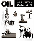 stock photo of oil derrick  - Design set of oil industry vector images  - JPG