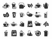 Black Tea Leaves Icons. Hot Drink Cup, Cold Iced Tea And Teapot With Steam Pictogram. Organic Herbal poster