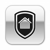 Black House Under Protection Icon Isolated On White Background. Home And Shield. Protection, Safety, poster