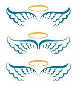 Heaven Angeles Wings. Holy Angel Wings With Saint Halo Hand Drawn Symbols Isolated Vector, Simple He poster