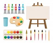 Painting Art Tools. Cartoon Paint Arts Vector Artistic Elements, Brush Or Paintbrush, Palette And Wa poster