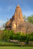 Lakshmana and Matangeshwar temples on sunset. Khajuraho, India