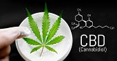 Cannabis Cbd Cream. Top View Of Jar With Cbd Hemp Salve With Cannabis Leaf On Black Background. Mari poster