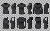 Women Clothes Apparel Black Templates And 3d Realistic Sportswear Mockup Models. Vector Front And Si poster