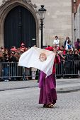 BRUGES, BELGIUM - MAY 17: Annual Procession of the Holy Blood on Ascension Day. shroud of Christ - L