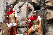 BRUGES, BELGIUM - MAY 17: Annual Procession of the Holy Blood on Ascension Day. Roman soldiers and t