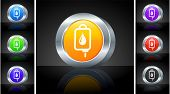IV Blood Drip Icon on 3D Button with Metallic Rim Original Illustration