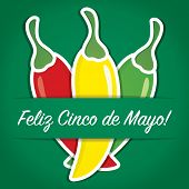 "picture of jalapeno  - ""Feliz Cinco de Mayo"" (Happy 5th of May) paper cut out card in vector format. - JPG"
