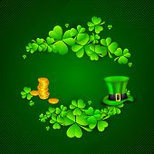 Irish four leaf lucky clovers, golden coins and leprechaun hat background for Happy St. Patrick's Day. EPS 10.