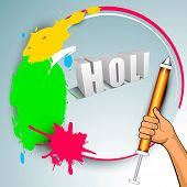Indian colorful festival Holi celebration background with colors splash, color gun(pichkari). EPS 10