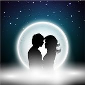Beautiful St. Valentine's Day night background with silhouette of couple.