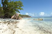 Tropical Sand Beach On Seychelles Islands, Praslin, Anse Lazio