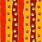 Bright cats or dogs paw print and stripes seamless pattern, vector