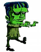 picture of lurch  - Cartoon illustration of the Frankenstein monster created by Mary Shelley in her novel where a scientist creates a monster from bodyparts taken from corpses - JPG