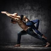 Man and woman in passionate dance pose