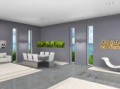 modernes Interieur mit aquarium
