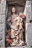 Antique Blessed Virgin Statue In Church Alcove