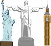 Big Ben, Statue of Liberty and the Reedemer statue in vector art - very high detail