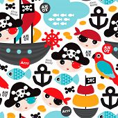 foto of parrots  - Seamless retro pirates illustration sailing the ocean background pattern in vector - JPG